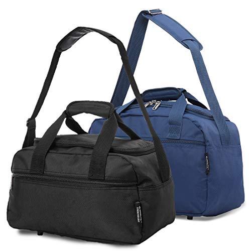 Aerolite 40x20x25 New 2020 Ryanair Maximum Size Holdall Cabin Luggage Flight Bag (Black + Navy)