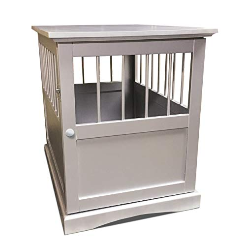 Furhaven Pet Dog Bed Furniture | Secure Living Room Dog Crate End Table Gated Enclosure for Dogs & Cats, Silver, Small
