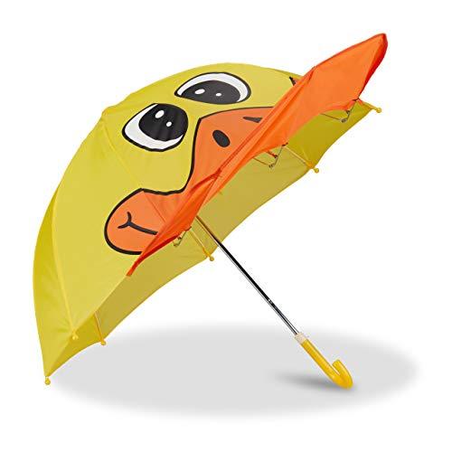 Relaxdays Kinderregenschirm mit 3D Ente, Regenschirm für Mädchen und Jungen, kleiner Stockschirm, gelb