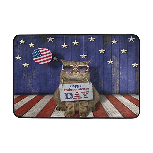 Bolaz Doormat Area Rug 4Th of July Patriotic Cat for Bedroom Front Door Kitchen Indoors Home Decors 23.6x15.7 inches