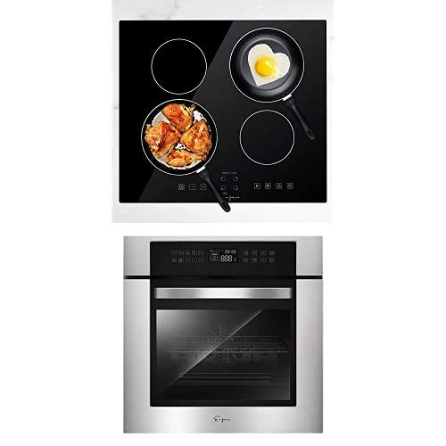 Empava 24' Electric Stove Induction Cooktop with 4 Power Boost Burners Smooth Surface Vitro Ceramic Glass & Electric Single Wall Oven 10 Cooking Functions LED Digital Display Touch Control