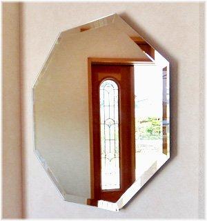 (オーカベガラス)OOKABE GLASS 八角形ミラー 飾り面取り 壁掛けタイプ 450×450mm Z-600HMK