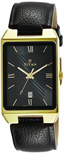 Titan Karishma 1777YL01 - Reloj analógico para hombre, esfera negra