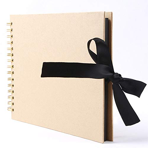 NC56 Fotoalbum 215 * 150 mm, Fotoalbum mit 30 schwarzen Seiten, 120 Fotoalben für Design und Einfügung, beige