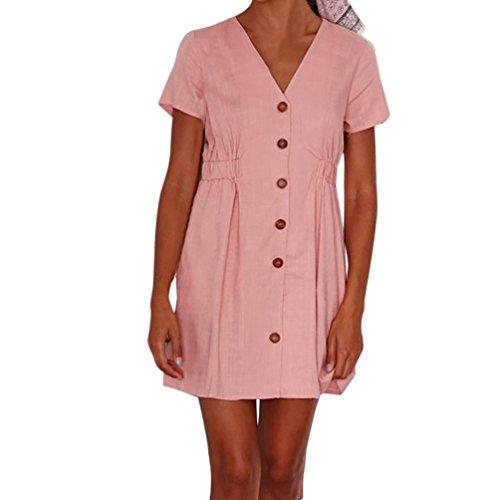 Amphia Damen Shirtkleid Rundhals Kurzarm Stretch Casual Kleid Sommerkleid Freizeitkleider Blusenkleid Tunikakleid (Rosa, L)