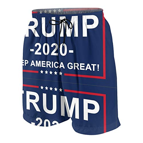 KXT Trump 2020 Boys Swim Trunks,Funny Cool Quick Dry Board Shorts Teens Kids Swimsuits White