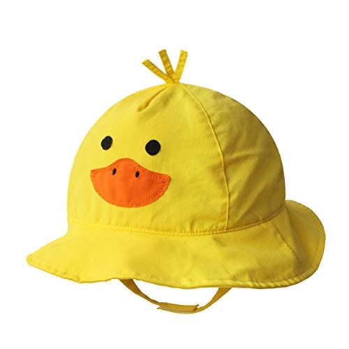Cotton Breathable Animal Anti UV Sun Protection Bucket Hat with Chin Strap Outdoor Cap for Kids Baby Toddlers Girls/Boys-Yellow Duck-20.5''