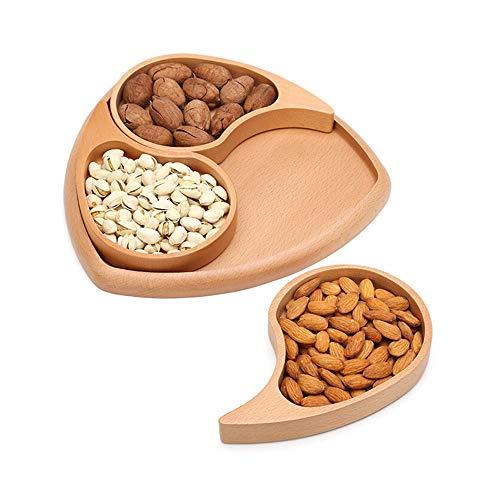 LICHAO Getrocknete Früchte in Lebensmittelqualität aus Holz, Süßigkeiten-Aufbewahrungsbox, dick, Abriebfest, geeignet für Früchte, Nüsse, Kekse, Snacks usw.