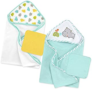 Just Born Boys and Girls Newborn Infant Baby Toddler Bath Baby Hooded Towel and Washcloth 4-Pack, Grey/Green/Hippo, One Size