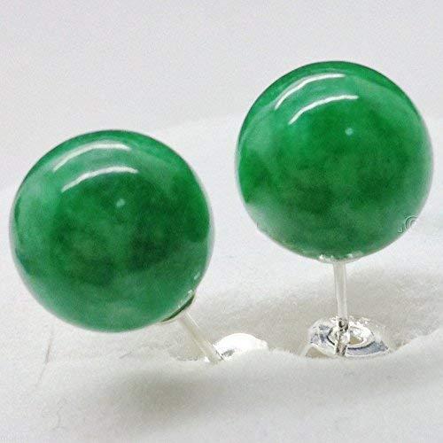 DUANMEINAD Pendientes de tuerca de plata maciza de jadeita verde natural de 10 mm AAAA