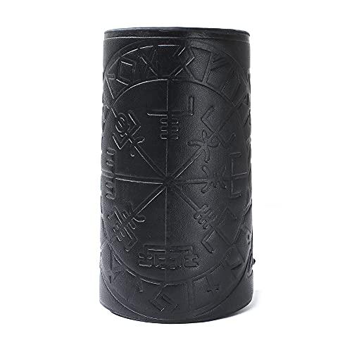 2 pulseras de cuero con guantelete punk brazaletes de cuero para brazos, guantelete Viking Runic Compass en relieve, protectores de brazo de cuero medieval, protector de brazo con arco (negro)