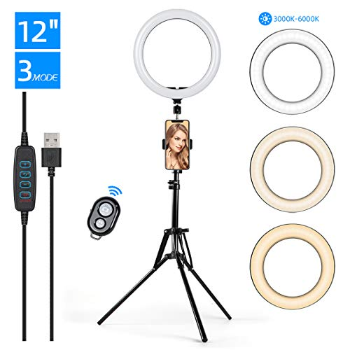 """KinCam 12"""" LED Selfie Ring Light with Tripod Stand Phone Holder for Makeup,Live Stream YouTube,3 Light Modes and 10 Brightness Level Circle Light with Remote Compatible with iPhone and Android"""