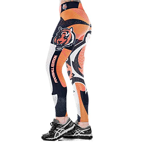 YJKGPZQLZ Yoga Hosen Leggings Printed Unisex Football Team Bengals Druck Enge Hosen Workout Gym Training Laufen Yoga Sport Fitness Übung...
