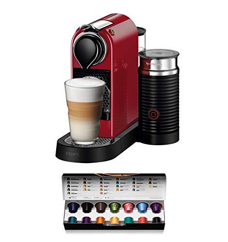 Nespresso Krups Citiz XN7605 - Cafetera monodosis de cápsulas Nespresso con aeroccino, compacta, 19...