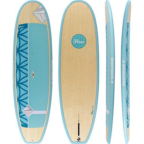 "Boardworks Flow | Yoga Stand Up Paddleboard | EXP Veneer - Epoxy Hardboard | 9' 11"", Bamboo/Teal/Light Blue"