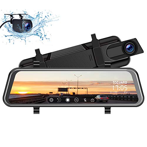 TOGUARD Mirror Dash Cam 10' 1080P Backup Camera Front and Rear Dual Lens Car Camera Video Streaming, Rear View Mirror Camera for Car with Waterproof 1080P Rear Camera Parking Assistance Night Vision