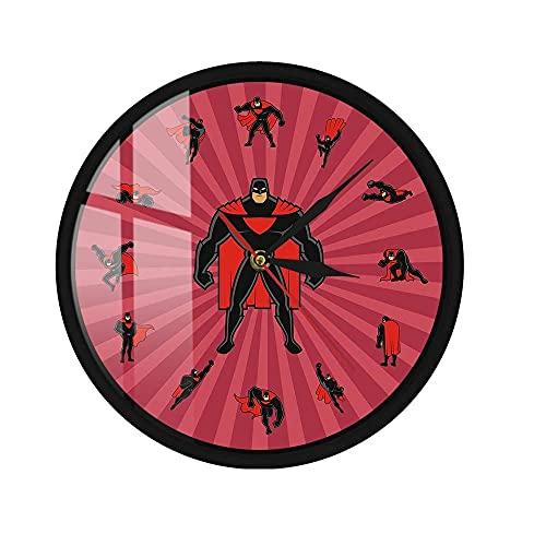 Reloj de Pared LED Activado por Sonido Superhéroe de Dibujos Animados Super Dad Marco de Metal Arte de la Pared Decoración de la habitación de los niños Regalo 12 Pulgadas