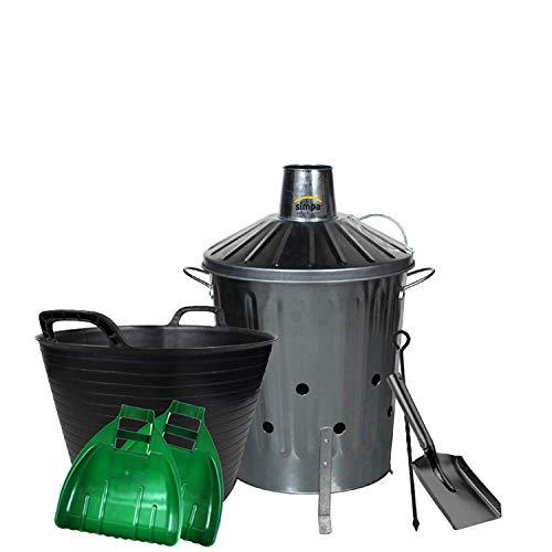 simpaoutdoor Galvanised Locking Lid Incinerator Bin 40 Litre, Mini Shovel, Poker, 42L Flexi Tub and Plastic Leaf Grabber Set.