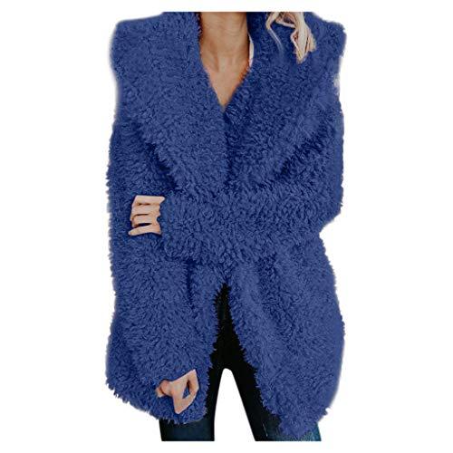 Buy Bargain Pumsun Womens Winter Lapel Warm Artificial Wool Coat Jacket Outerwear (XL, Blue)