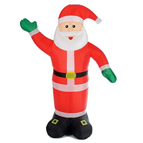 BAKAJI Babbo Natale Gonfiabile Verticale Autogonfiabile Grande Altezza 240 cm con Illuminazione a LED e Kit Fissaggio per Esterno Protezione IP44 Addobbo e Decorazione Natalizia