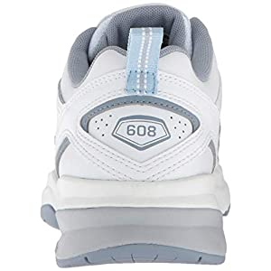 New Balance Women's 608 V5 Casual Comfort Cross Trainer, White/Light Blue, 7.5 W US
