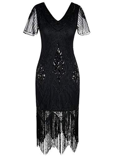 PrettyGuide Women's Gatsby Dress Vintage Art Deco Flapper Dress Roaring 20s XL Black