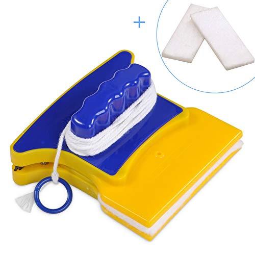 Nikou Limpiacristales - Limpiacristales magnético de Doble Lado y Forma Cuadrada con 2 algodones de Limpieza Extra for Ventanas