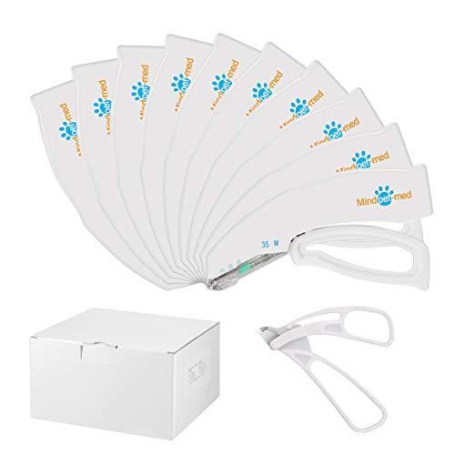 MINDPET-MED Grapadora de piel estéril, grapadoras desechables de piel 10 piezas, cada uno con 35 soportes, emergencia de primeros auxilios
