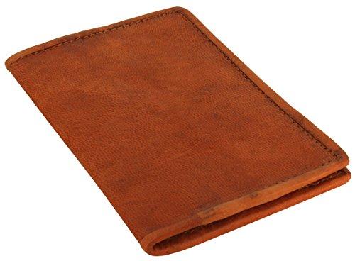 Gusti Lederumschlag Passhülle Notizblockhülle Vintage Braun Leder