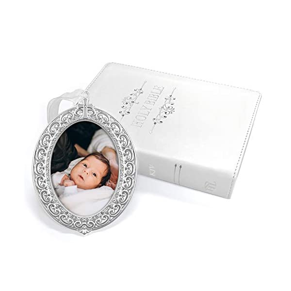 White Bible Gift Set with KJV Bible & Silver-Plated Frame Ornament with Crystals from Swarovski