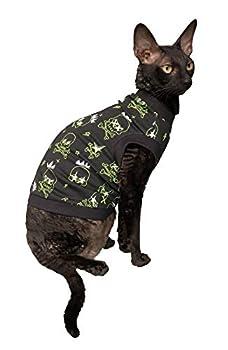 Kotomoda T-shirt en coton stretch pour chat Sphynx Phosphorescent