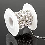 UMAOKANG 16.4 Feet Chains Link Ball Pearl Beading Brass Cable Chain Roll Silver Copper Necklace Bulk Chain with Spool for Jewelry Making DIY Craft Bracelets