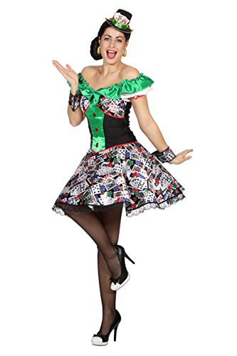W4978-42 bunt Damen Disco-Party Kleid-Kostüm Casino Katrenspiel Gr.42