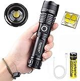T6 Linterna LED XHP70.2 Alta Potencia 5000 Lúmenes, Impermeable 3 Modos de Zoom, P70 XHP70 Linterna Táctica con Cargador, Batería y Cable USB