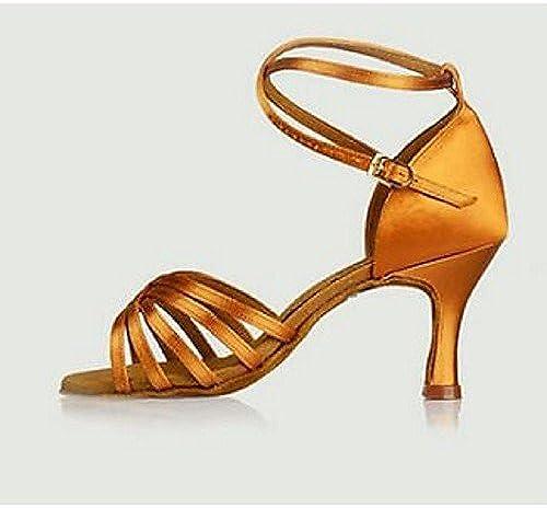 T.T-Q Chaussures de Danse pour Femmes Talons Satin Rouge Talon Aiguille