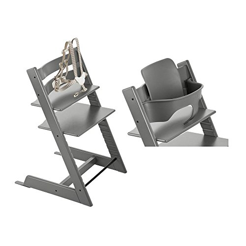 Stokke Tripp Trapp High Chair - Storm Grey & Babyset - Storm Grey
