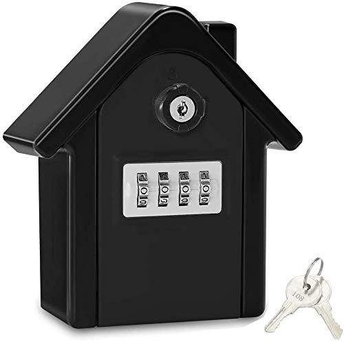 Key Lock Box,Extra Large Key Safe Outdoor Large Capacity Key Box Wall Mounted Key Safe Storage Box with 4 Digit Combination Lock
