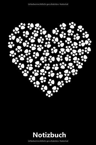 Notizbuch: Herz aus Hunde Pfoten - Hund   für Notizen, Skizzen, Zeichnungen, als Kalender oder Tagebuch; breites Linienraster (A5   liniertes Papier   Soft Cover   100 Seiten)