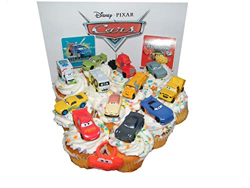 Disney Cars Movie Deluxe Cake Toppers Cupcake Decorations Set of 14 with Plastic Cars, a Sticker Sheet and ToyRing Featuring Lightning McQueen, Nash, Dr. Damage and More!