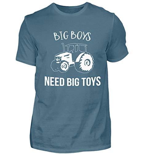 Große Jungs brauchen große Spielzeuge - Traktor und Trecker, Forstwirt, Landwirt - Herren Shirt -M-Steinblau
