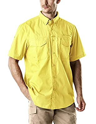 CQR Men's Short Sleeve Work Shirts, Ripstop Military Tactical Shirts, Outdoor UPF 50+ Breathable Button Down Hiking Shirt, Officer(tos401) - Yellow, Large