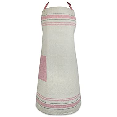 DII Cotton French Stripe Kitchen Chef Apron with pocket and Extra-Long Ties, 33 x 28  French Country Farmhouse Men & Women Apron for Cooking, Baking, BBQ-Red