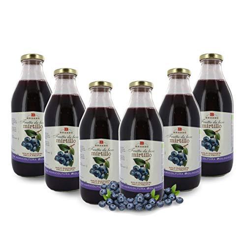 Brezzo Succo di Frutta al Mirtillo in Vetro, 6 Bottiglie da 750 Ml, Tot. 4,5 Litri