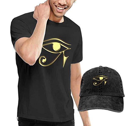 sunminey Herren Kurzarmshirt Egyptian Ibis Ankh Horus Eye 5 T-Shirts Short Sleeve Denim Hat Men