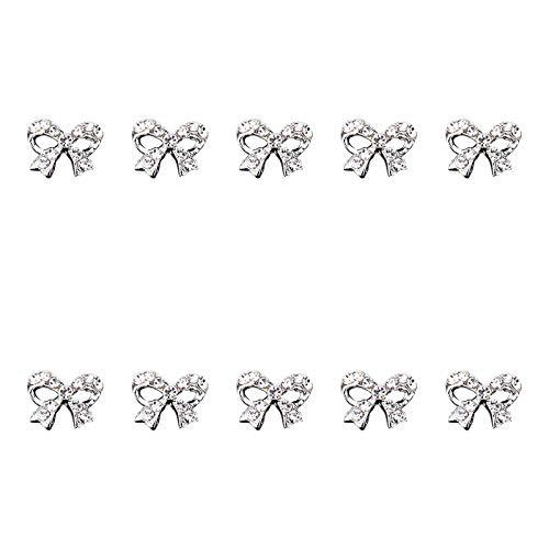 BANGSUN 10 Körnungen Nail Art Strass Nagel Dekoration Super Flash DIY dreidimensionale Kristall Silber Schleife Form