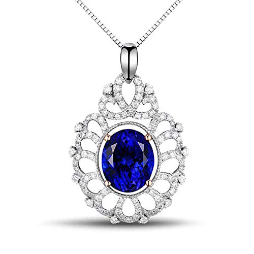 ButiRest 750 Gold Necklace Hollow Water Drop Pendant in 18K White Gold with Four Claws Oval Cut 4.1ct Blue Tanzanite IF and 0.62ct Diamond