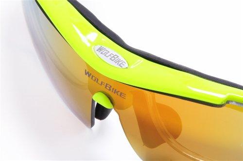 WOLFBIKE BYJ-013 Sonnenbrillen Radsport brille Fahrradbrille f. Außen Skilaufen Radfahren Fahrräder und andere Sport-Schutz mit 5 Wechselobjektiven (Grün) - 3
