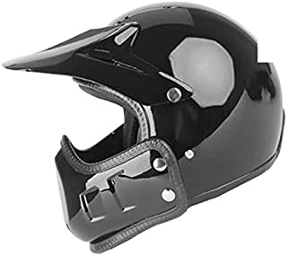 Mdsfe Full face motorcycle helmet fiberglass motorcycle helmet retro racing motorcycle motorcycle helmet with removable ear pads Matte Black X M
