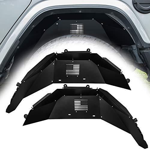 Danti for Jeep Wrangler Rear Inner Fender Liners fit 2018 2019 2 Door & 4 Door Jeep Wrangler JL 4WD US Flag Logo Lightweight Aluminum Design