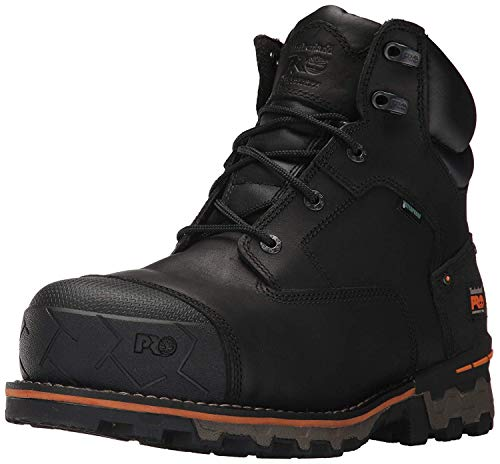 Timberland PRO Men's Boondock 6 Inch Composite Safety Toe Waterproof Industrial Work Boot, Black Full Grain Leather, 9
